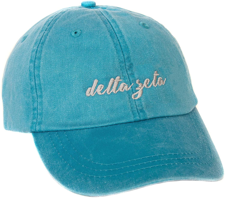Delta Zeta (N) Sorority Baseball Hat Cap Cursive Name Font dz