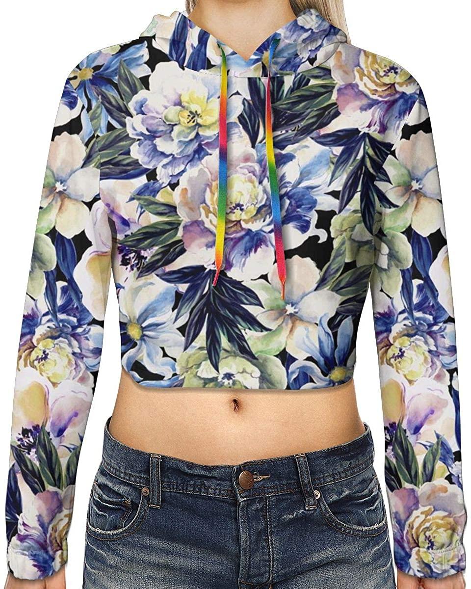 Daily Women's Floral Print Long Sleeves Crop Top Girls Crew Neck Sweatshirt Hoodie