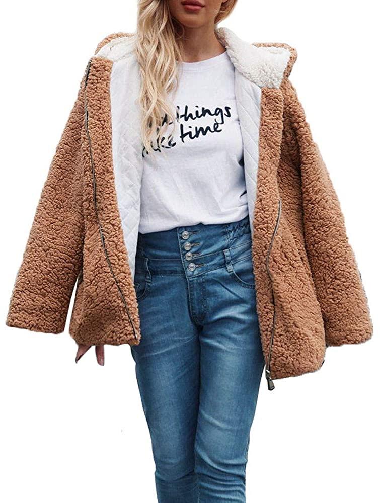 Kangma Womens Hooded Warm Artificial Wool Coat Jacket Winter Sherpa Parka Outerwear