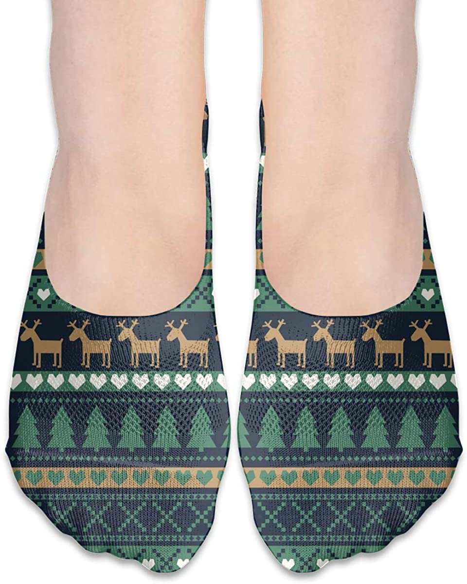 No Show Socks For Women Scandinavian Style Christmas Deers Low Cut Sock Liners Invisible Socks