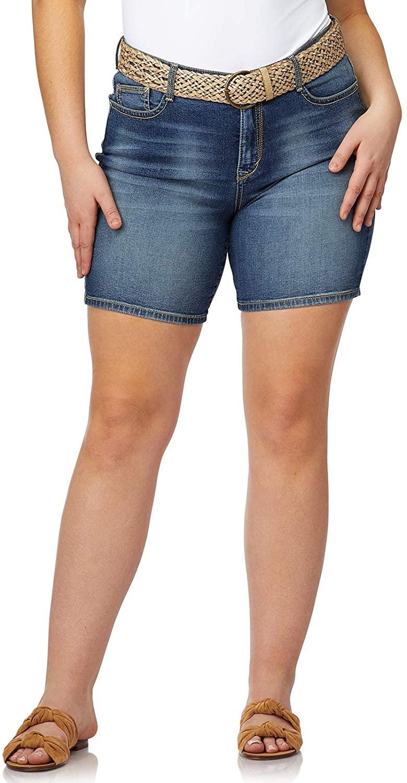 WallFlower Women's Plus-Size Belted Legendary Midthigh Shorts