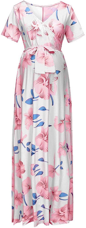 iiniim Maternity Pregnant Womens V Neck Short Sleeve Flower Printed Maxi Long Dress Summer Casual Party