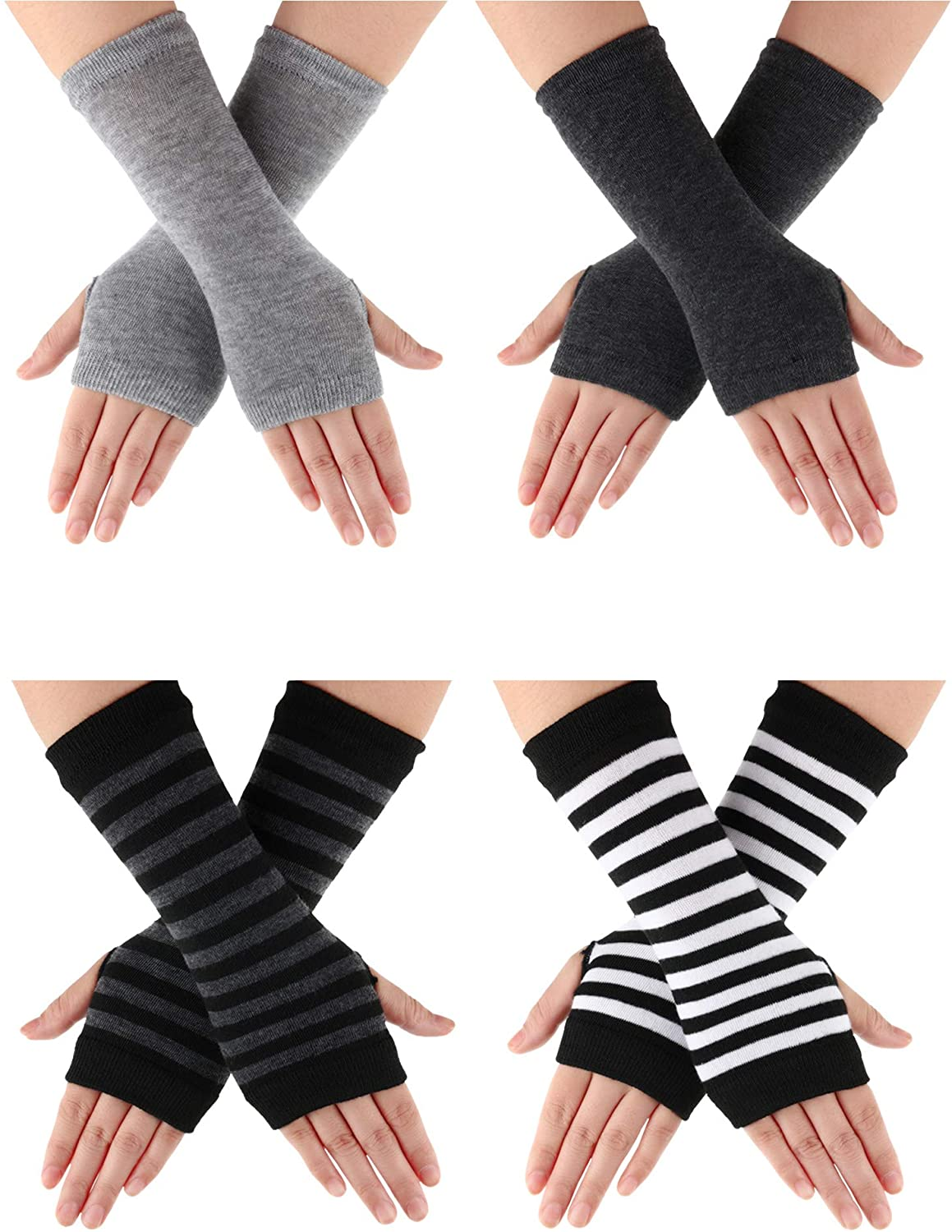 4 Pairs Cashmere Feel Wrist Fingerless Gloves with Thumb Hole Unisex Cashmere Warm Gloves