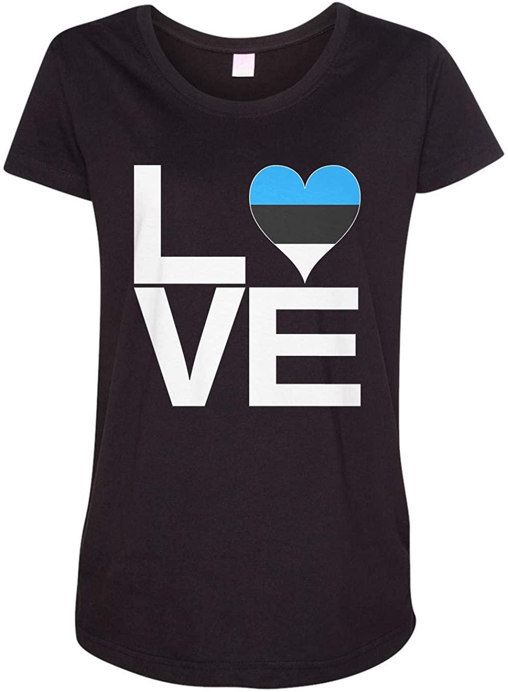 Tenacitee Ladies Love Block Estonia Heart Maternity Shirt