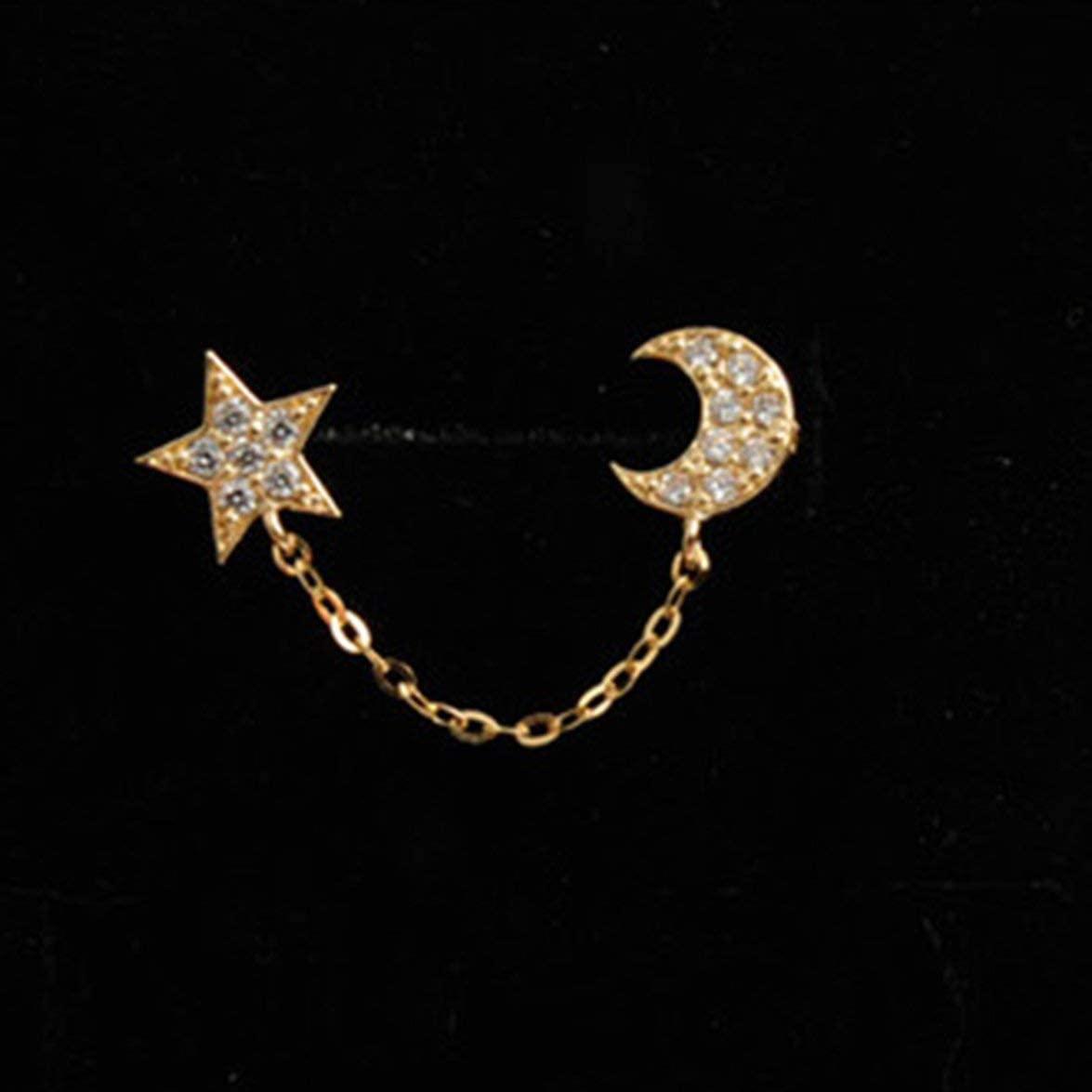 Sylvialuca Star Moon Diamond Refinement Fashion Stud Earrings Ear Hoop Jewelry Ear Decoration for Women Party Casual Ear Accessories