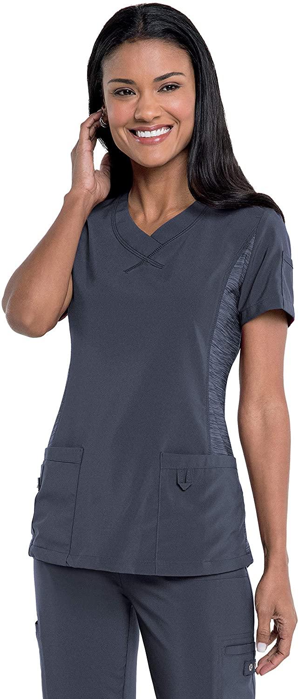 Urbane Women's 3 Pocket, Modern Tailored Fit V-Neck Medical Scrub Top 9047, Graphite, Large