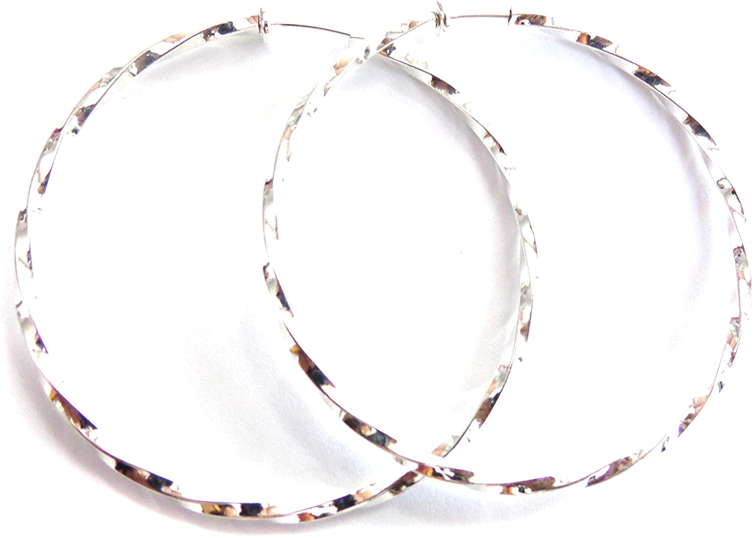 Clip-on Earrings Plated Silver tone Twisted Hoops 2.25 inch Hoop