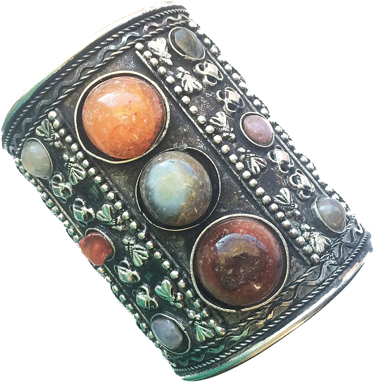 Taneesi Agate Cuff Bracelet,Tribal Cuff,Silver Antique Cuff,Afghan Jewelry,Kucchi Jewelry,Silver Bracelet