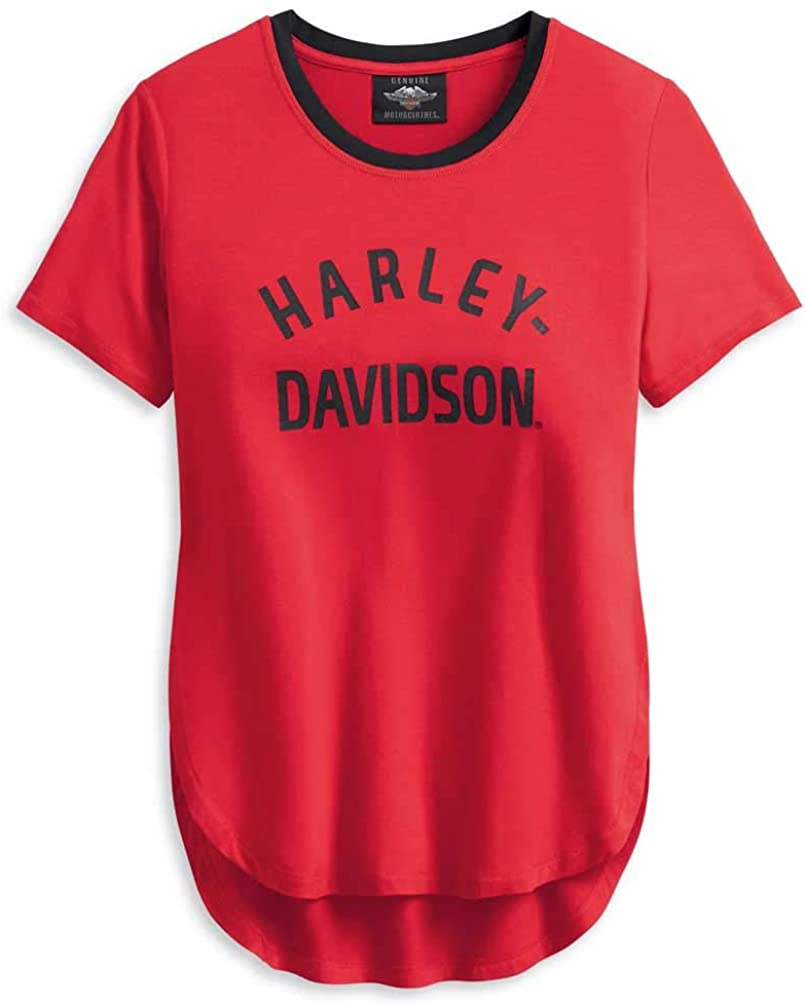 Harley-Davidson Women's Distressed H-D One Short Sleeve Tee - Red 96195-20VW