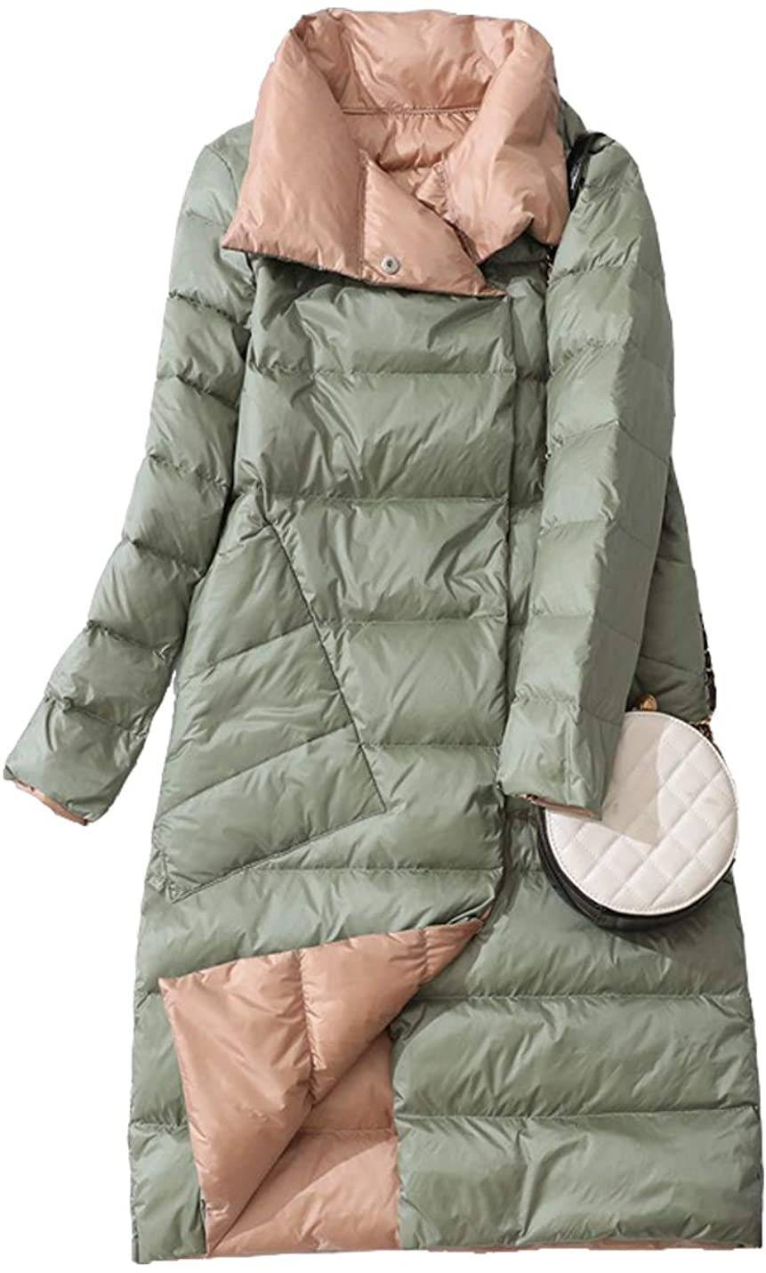 Hongsui Ladies Mid-Length Stand-up Collar Double-Sided Down Jacket