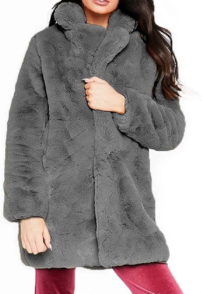 Comaba Women's Shaggy Outwear Loose Cardigan Turn Down Collar Warm Jacket Coat