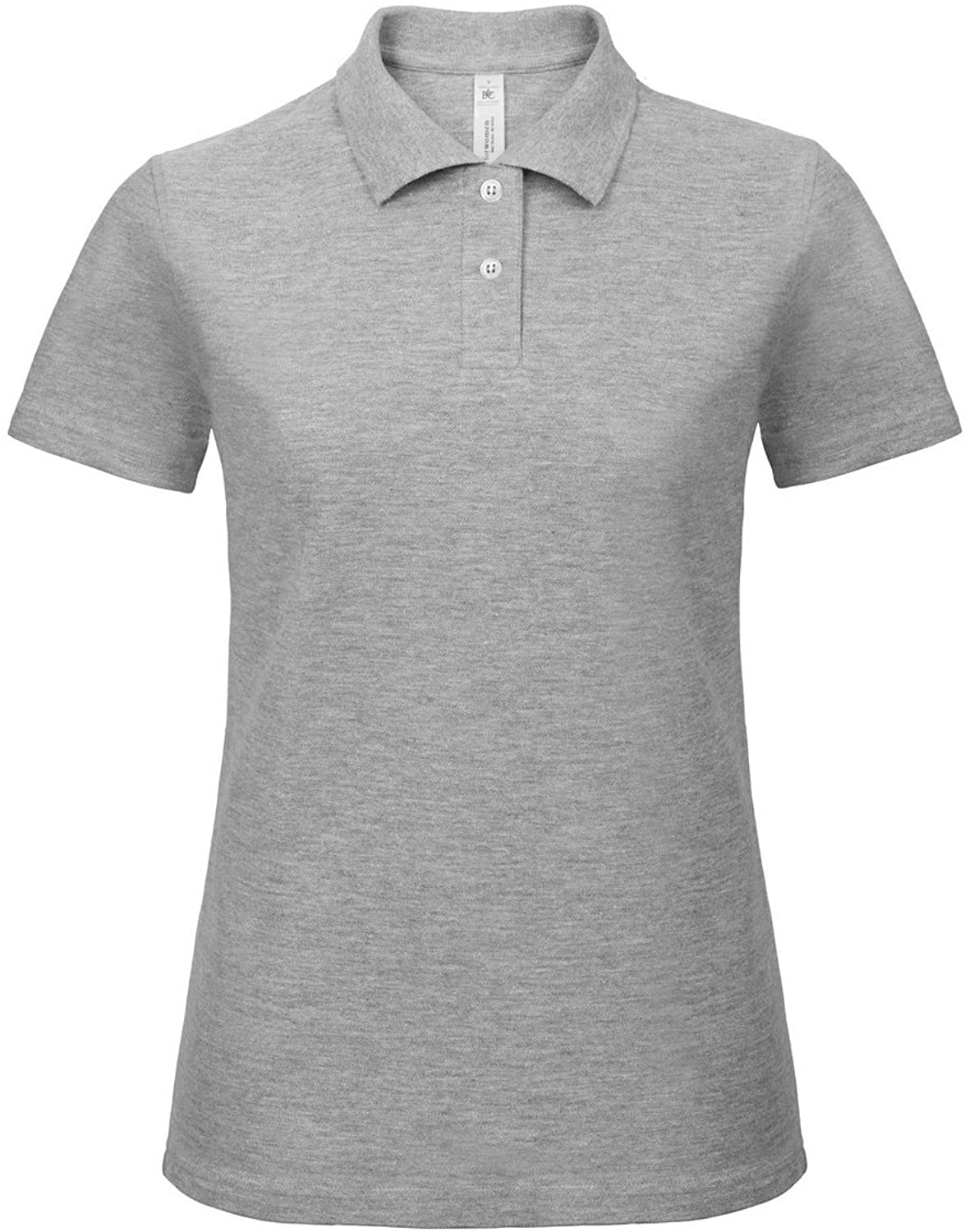 B&C Womens/Ladies ID.001 Plain Short Sleeve Polo Shirt (M) (Heather Grey)
