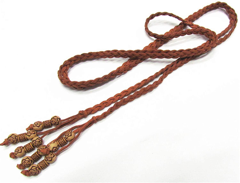 160Cm Women Vintage PU Leather Braided Belt Waist Chain Fashion Slender Bind Woven Belts