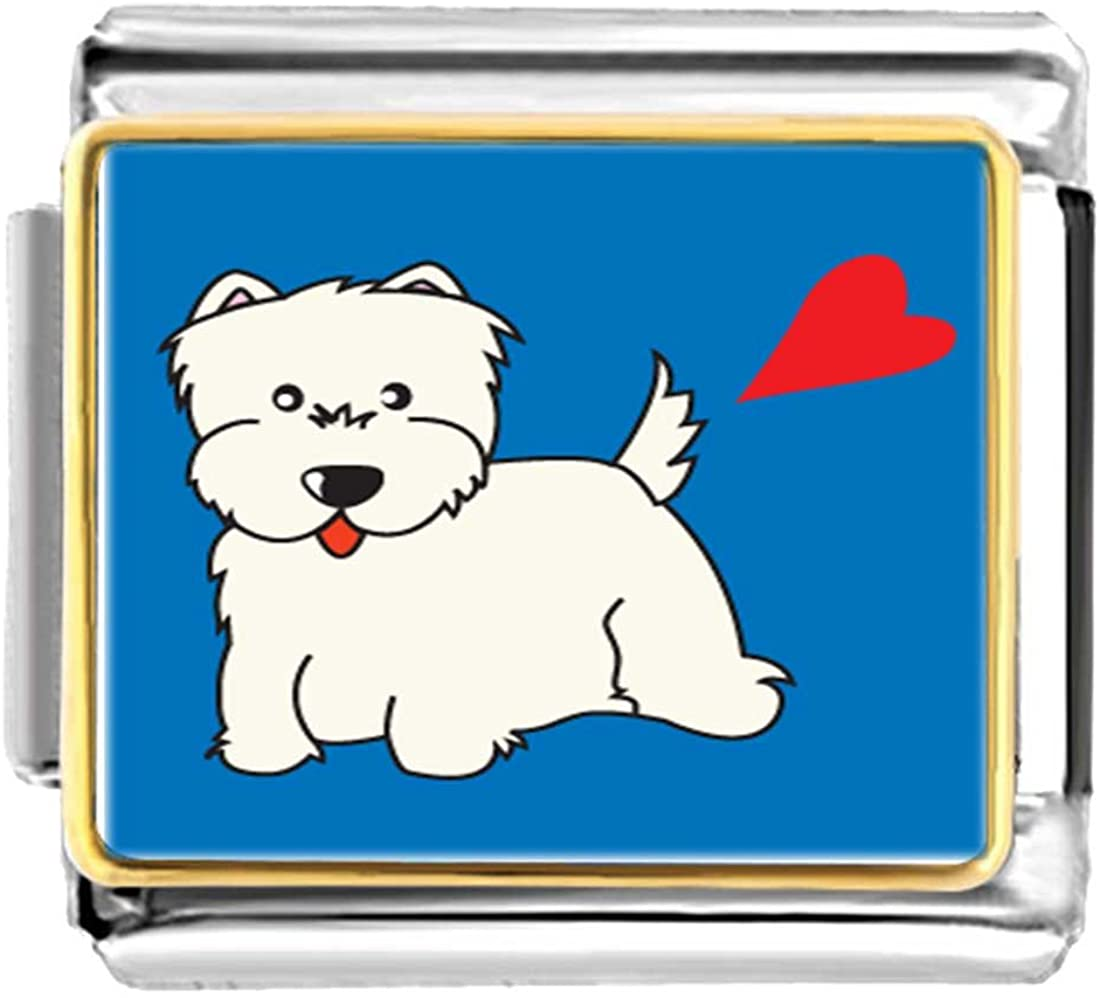 GiftJewelryShop Gold Plated Westie Dog Bracelet Link Photo Italian Charm