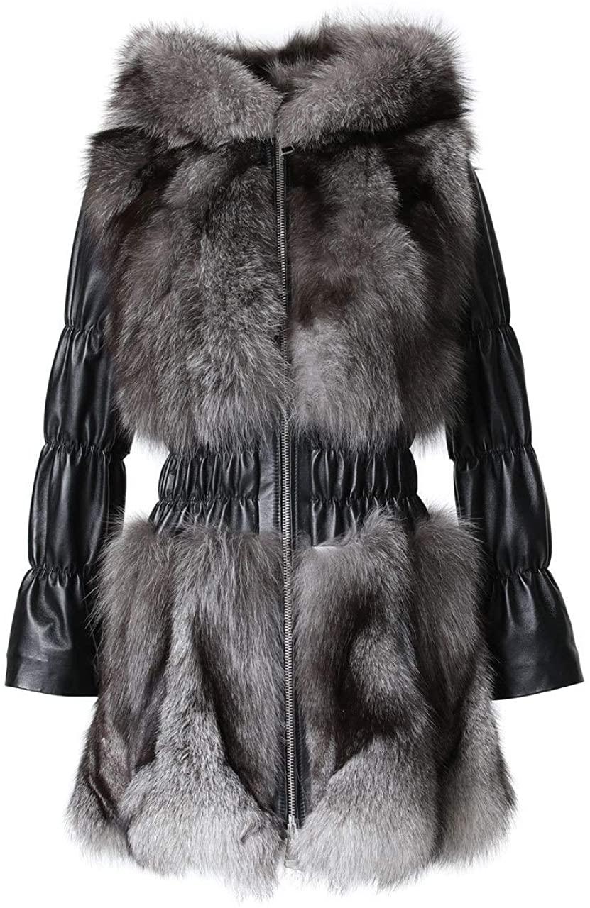skandinavikfur Blue Frost Fox Fur Jacket Hooded Leather Sleeves Waist