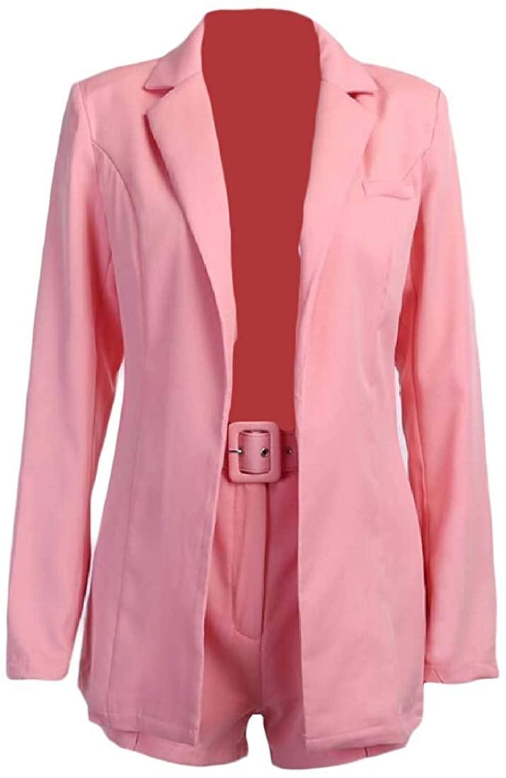 CYJ-shiba Women Coat Blazer 2 Piece Set Short Pants Long Sleeve Pure Color Jacket Office Work Cardigan Suit Outerwear