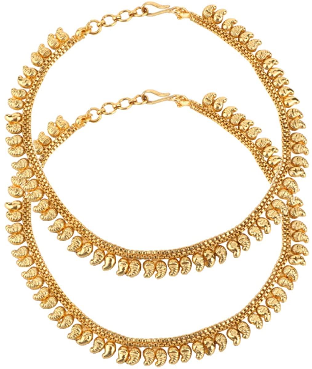 ADIVA Kundan Copper Anklet Payal Paajeb Toe Leg Jewelry Kolucu Kadiyami Pagani Ghunti Nupura (Pearl Polki Copper)