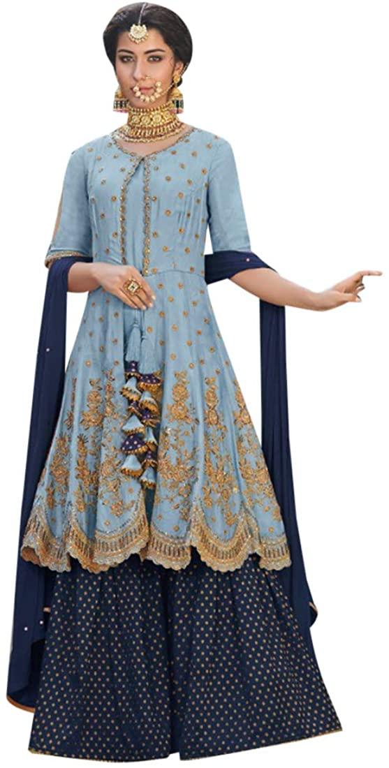 Muslim Festive Party wear Rangoli Georgette Heavy Sharara Suit Indian Women dress Semi-stitch 8183