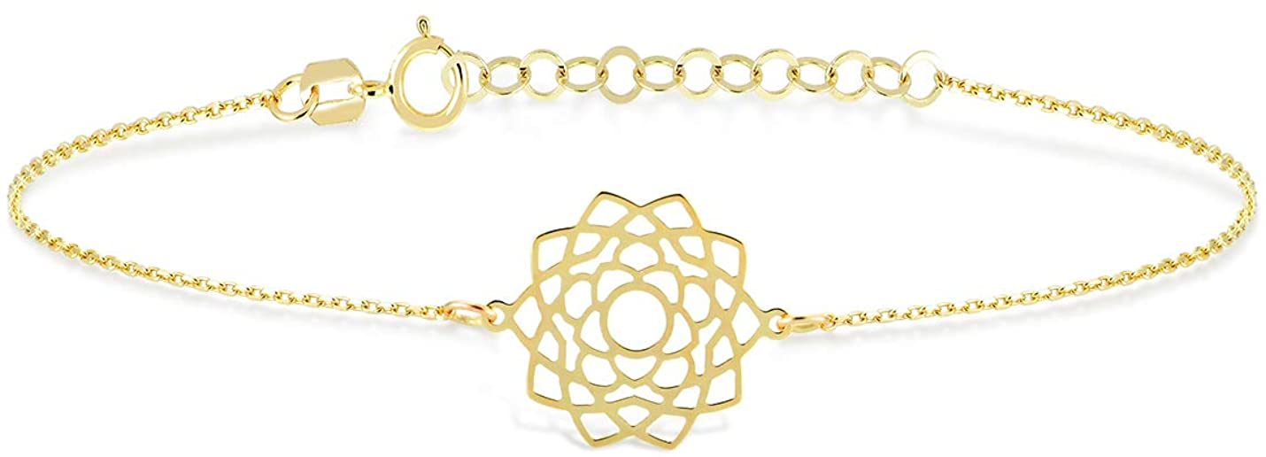 GELIN 14k Solid Gold Chakra Energy Chain Adjustable Bracelet for Women