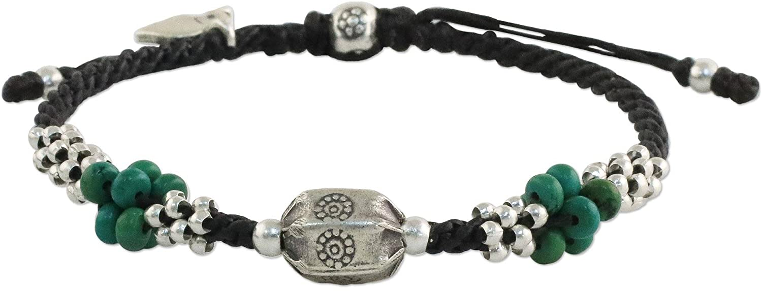 NOVICA Reconstituted Turquoise .925 Sterling Silver Beaded Bracelet, 8.25