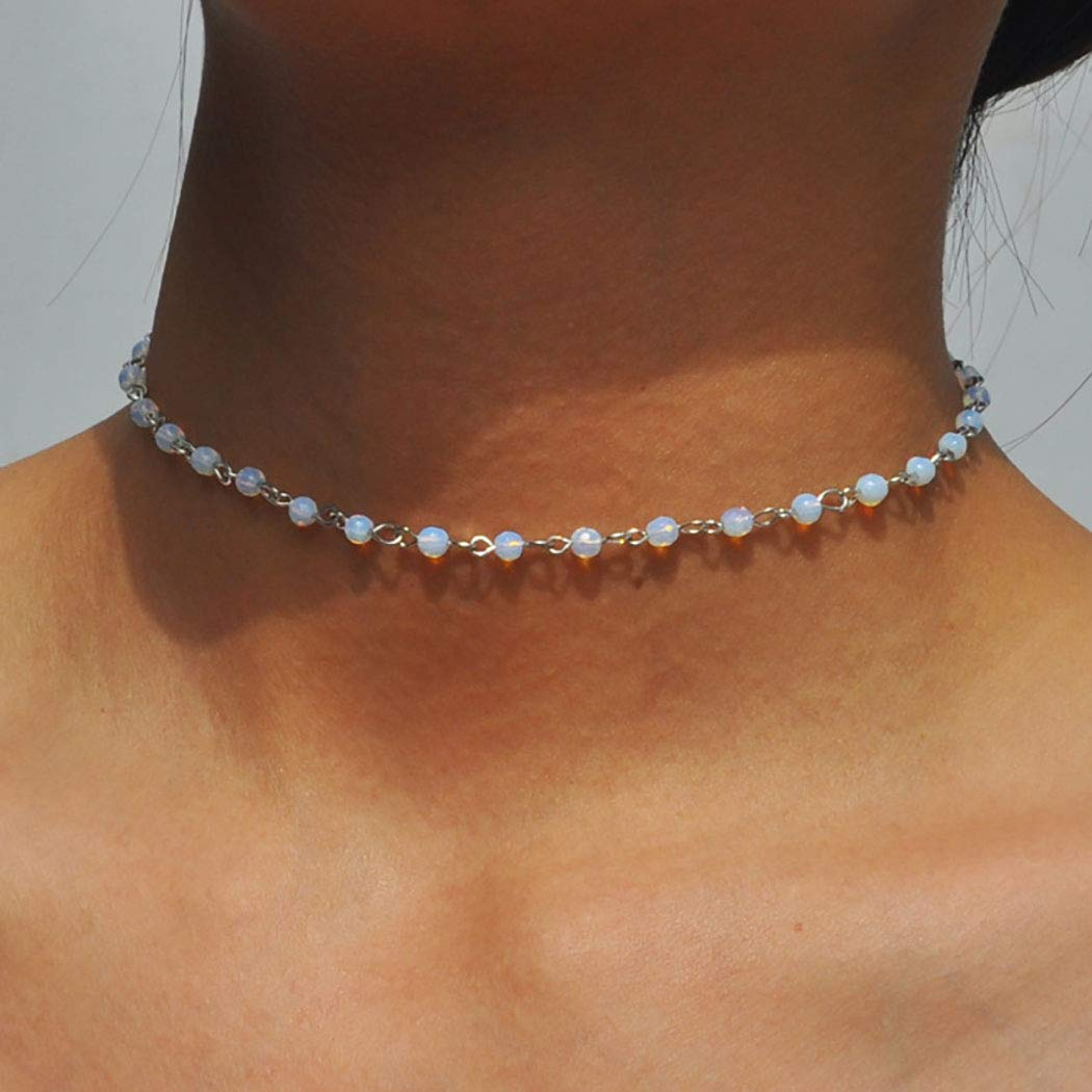 Obmyec Opal Choker Necklace Beaded Chain Short Rhinestone Necklaces Jewelry for Women and Girls (White Silver)