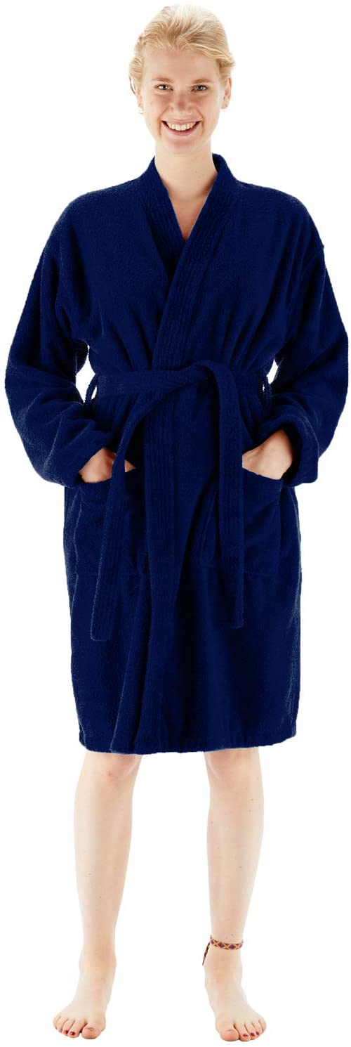 BC BARE COTTON 100% Turkish Cotton Women Terry Kimono Robe, Medium, Navy Blue