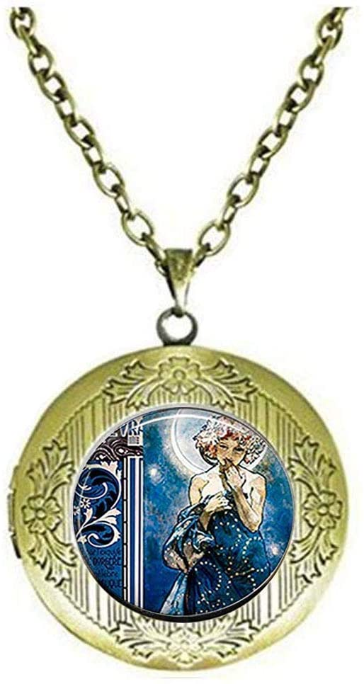 Moon Goddess Locket Necklace Moon Goddess Moon Goddess Jewelry Art Photo Gift Art Picture Jewelry