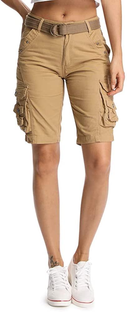 OCHENTA Women's Multi Pockets Utility Cargo Shorts, Casual Cotton Straight Leg Khaki 30-US 6