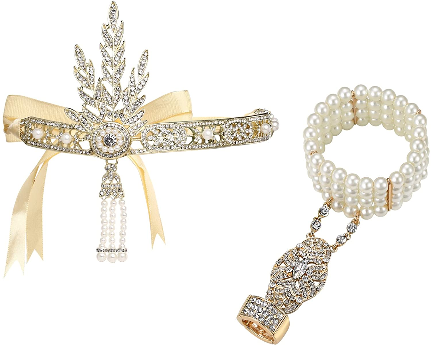 BABEYOND 1920s Flapper Headband and Gatsby Bracelet Adjustable Ring Set Great Gatsby Inspired Leaf Simulated 1920s Jewelry Set Gold-Tone