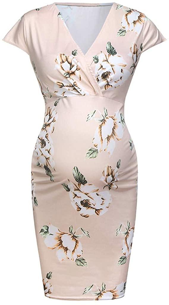 EDTO Women's Maternity Dress Floral Summer 3/4 Sleeve Casual Tunic Long Maxi Dress