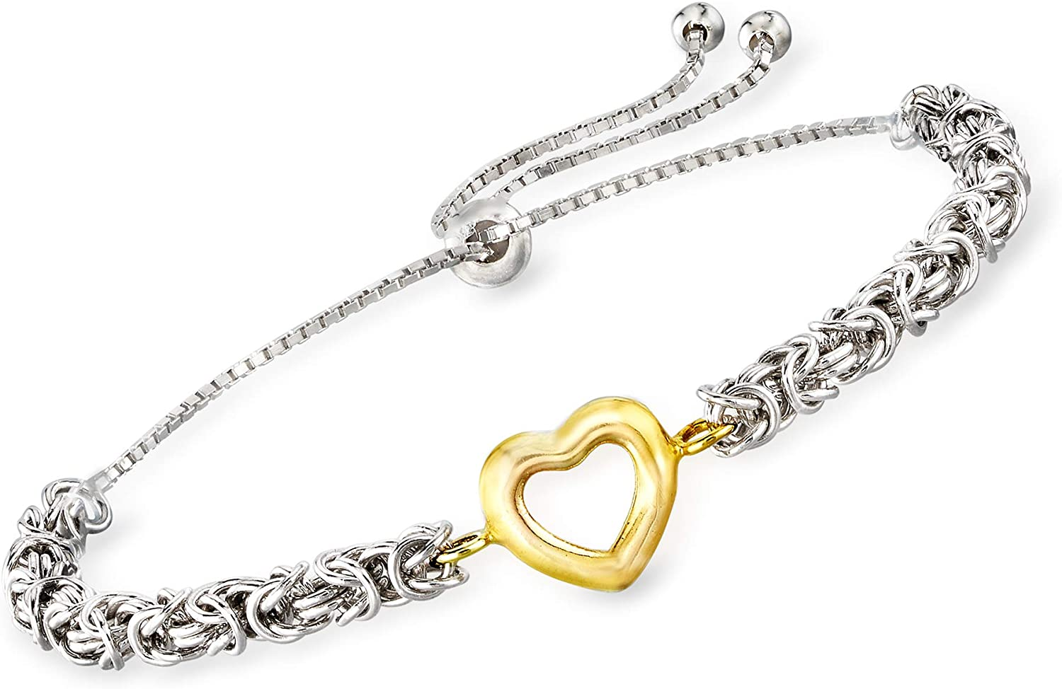 Ross-Simons Open-Space Heart Byzantine Bolo Bracelet in Sterling Silver and 14kt Yellow Gold