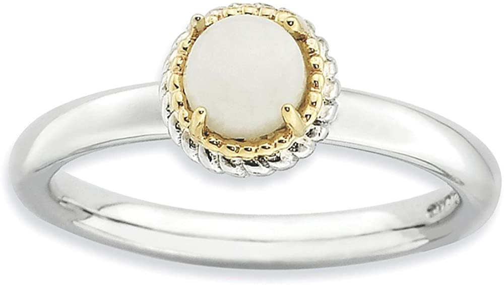 Beautiful White and yellow gold 14K Sterling Silver & 14k Stackable Expressions White Agate Polished Ring