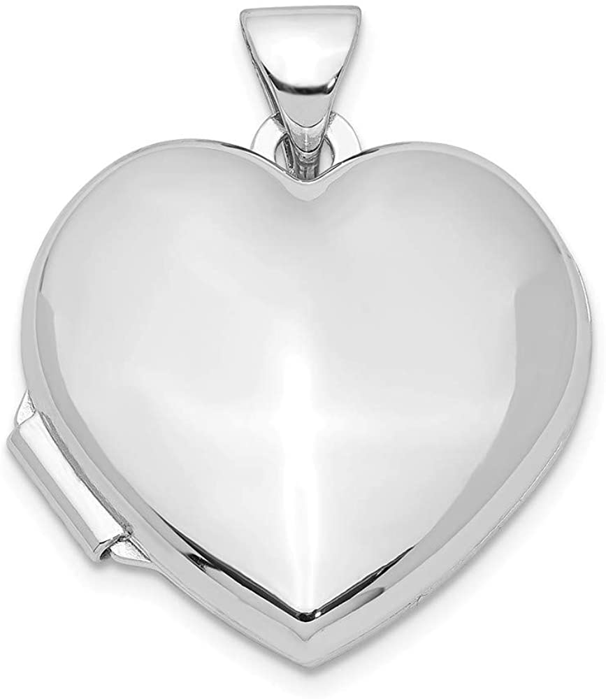 Finejewelers Rhodium-Plated Plain 18mm Heart Locket Pendant Necklace 18 inch Chain Included