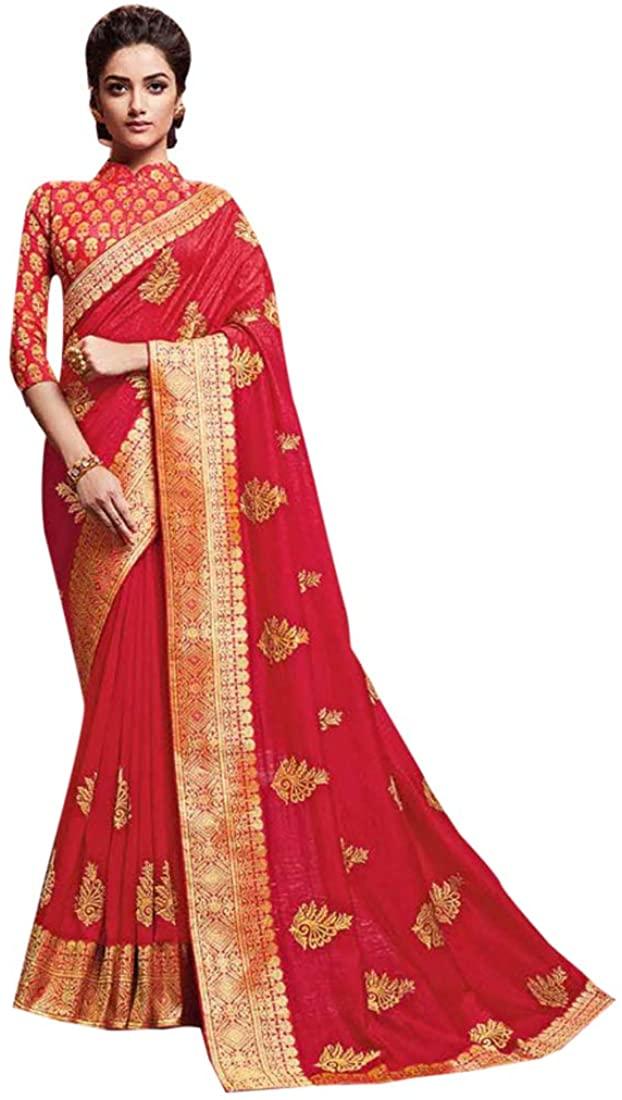 Bollywood Designer Pathani Silk Saree Blouse Piece Sari Ethnic Wedding Indian Traditional Women Wedding Festive Party Wear Dress 8901
