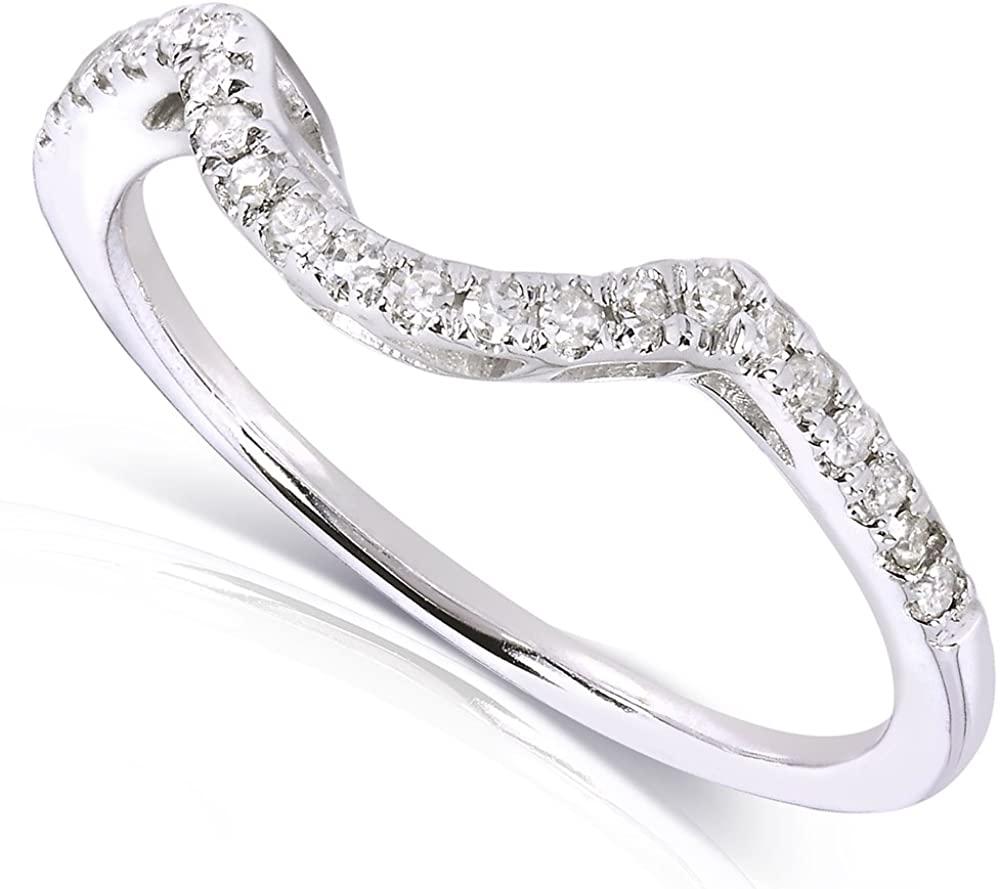 Kobelli Contoured Diamond Band 1/10 Carat (ctw) in 10k White Gold (Matching Band to Ring 61956-E)