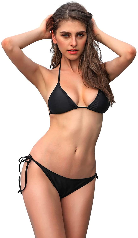 Colloyes Women's Sexy Bikini Set Tie Side Bottom Halter Triangle Bikini Bathing Suit