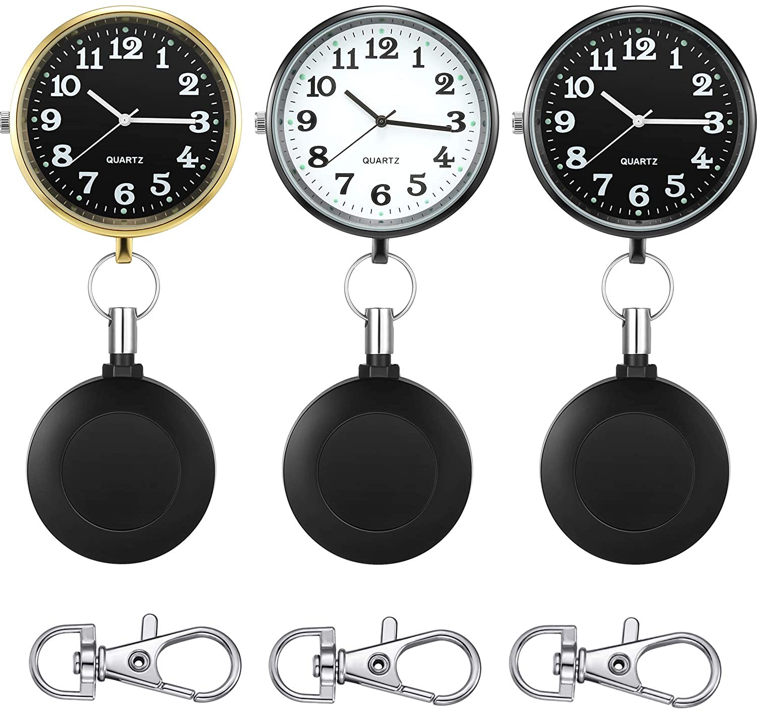 3 Pieces Nurse Watches Nursing Watch for Women and Men, Fob Nurse Watch with Second Hand Clip-on Retractable Pocket Watch for Nurses and Doctors