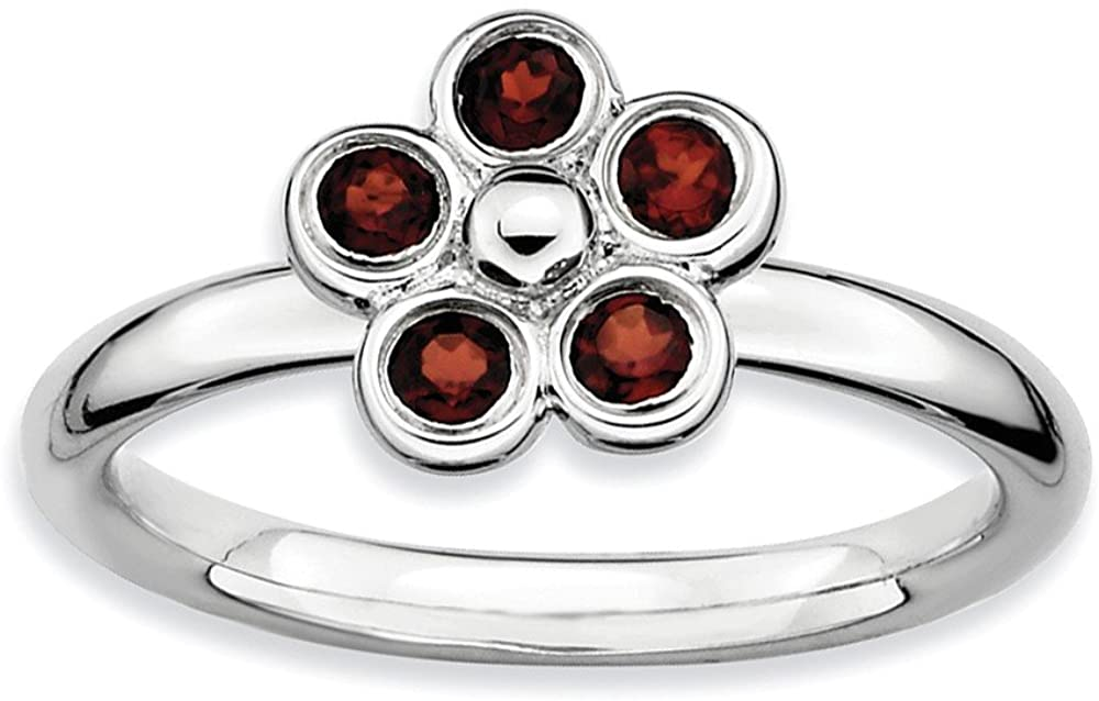 Beautiful Sterling silver 925 sterling Sterling Silver Stackable Expressions Garnet Flower Ring