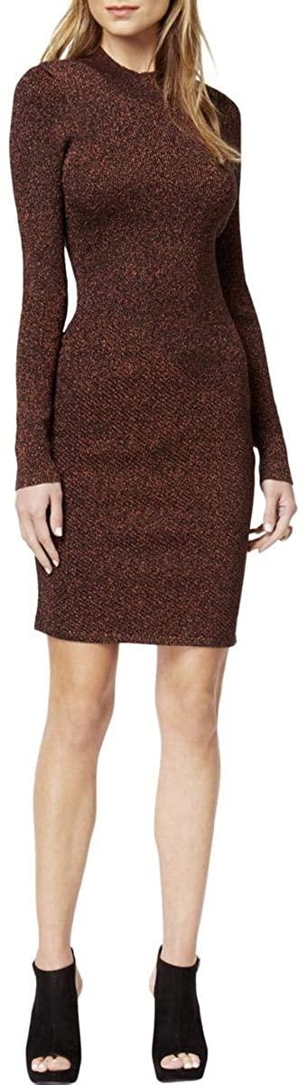 Bar III Womens Metallic Knee-Length Sweaterdress Bronze M