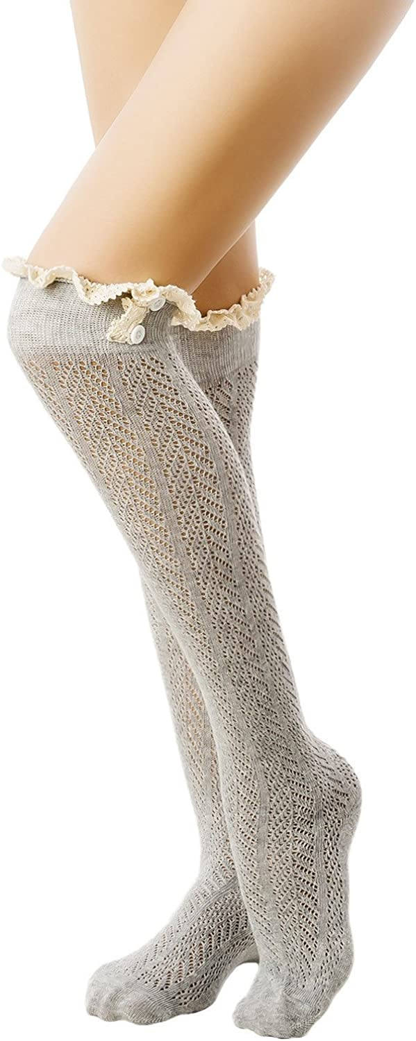 iB-iP Women's knitting japanese style eyelet lace cuff Knee High Knee-High Socks