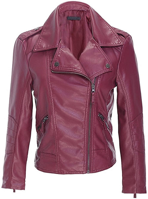 Chartou Womens Retro Washed Slim Fit Faux Leather Moto Bomber Jacket