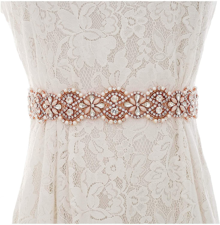 Weztez Wedding Belt Crystal Bridal Sash Rhinestones satin Bridal Belt For Wedding Dress Accessories