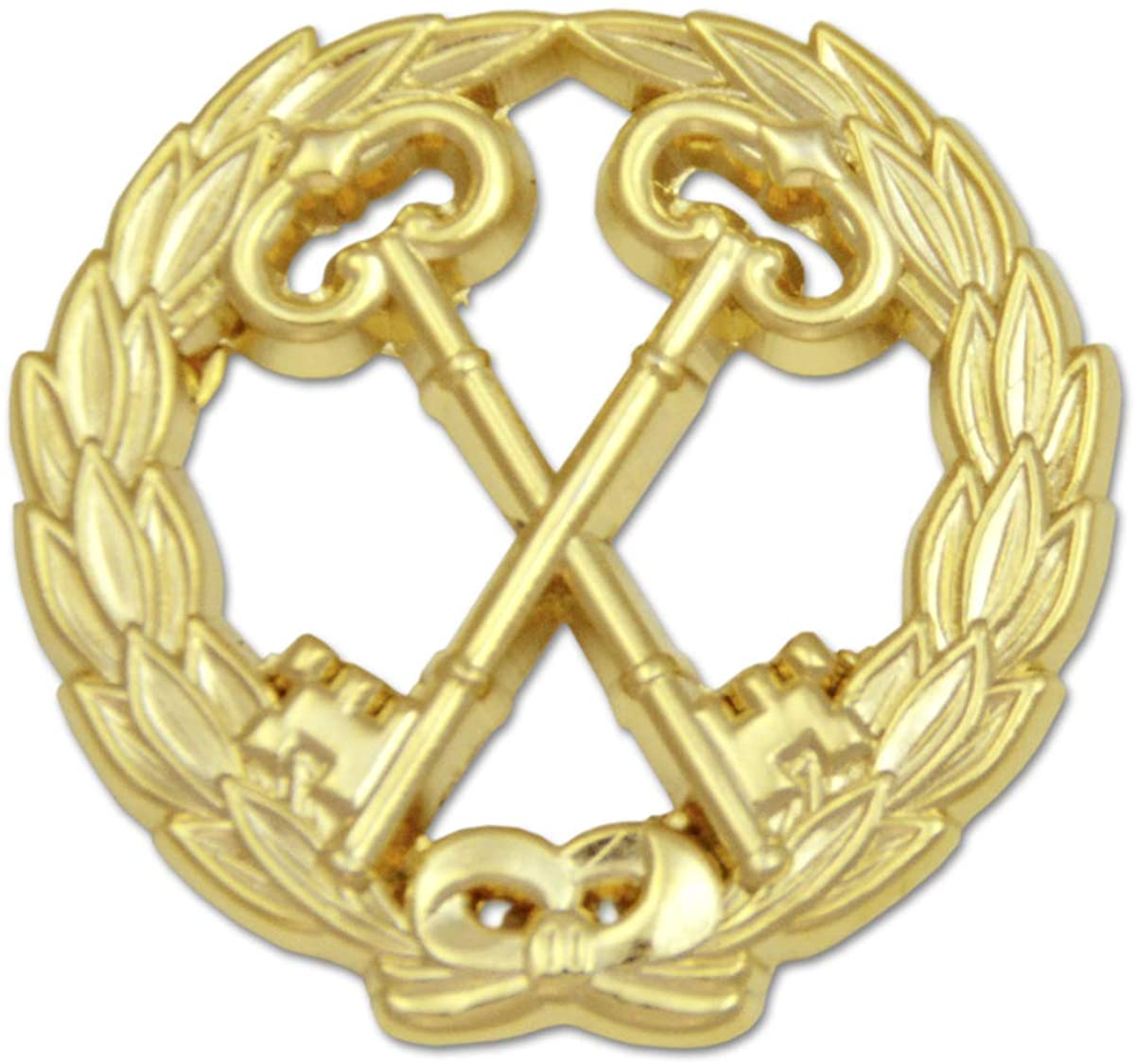 Wreathed Treasurer Keys Masonic Lapel Pin - [Gold][1 1/4'' Diameter]