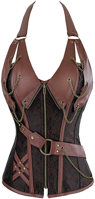 Lotsyle Women Overbust Strap Zipper Front Corset Metal Chain Charming Bustier