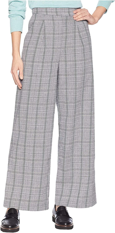 J.O.A. Womens Glen Check Wide Leg Pants