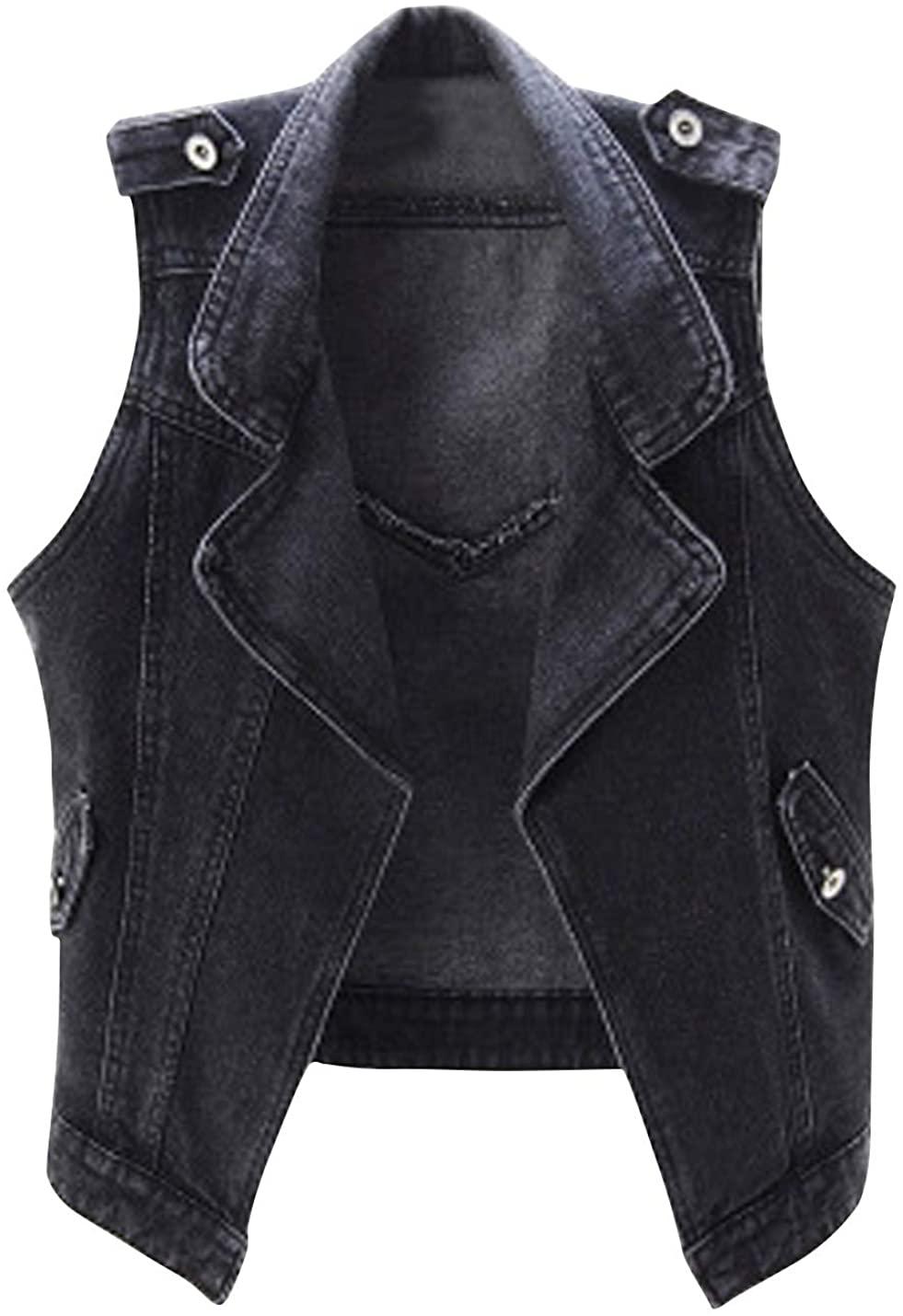 HUPOO Women's Casual Jean Vests Notched Lapel Open Front Denim Jacket Coats