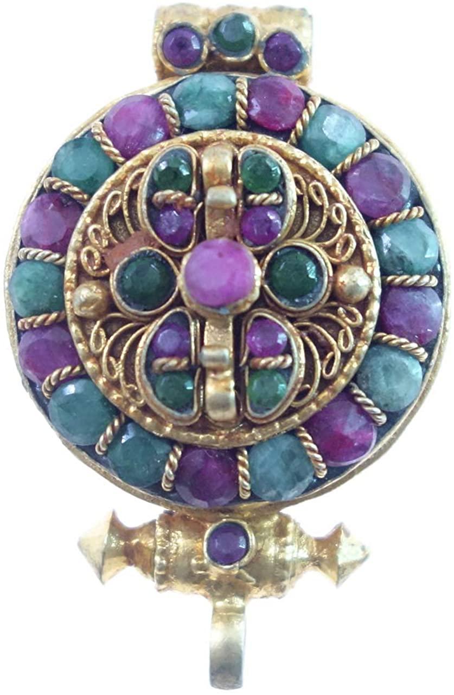 Gold Plated Handmade Designer Locket Pendant For Women, Real Ruby & Emerald Gemstone Ethnic Filigree Authentic Tibetan Buddhist Bohemian Boho Tribal Gypsy Modern Amulet Jewelry Handmade By Artisans