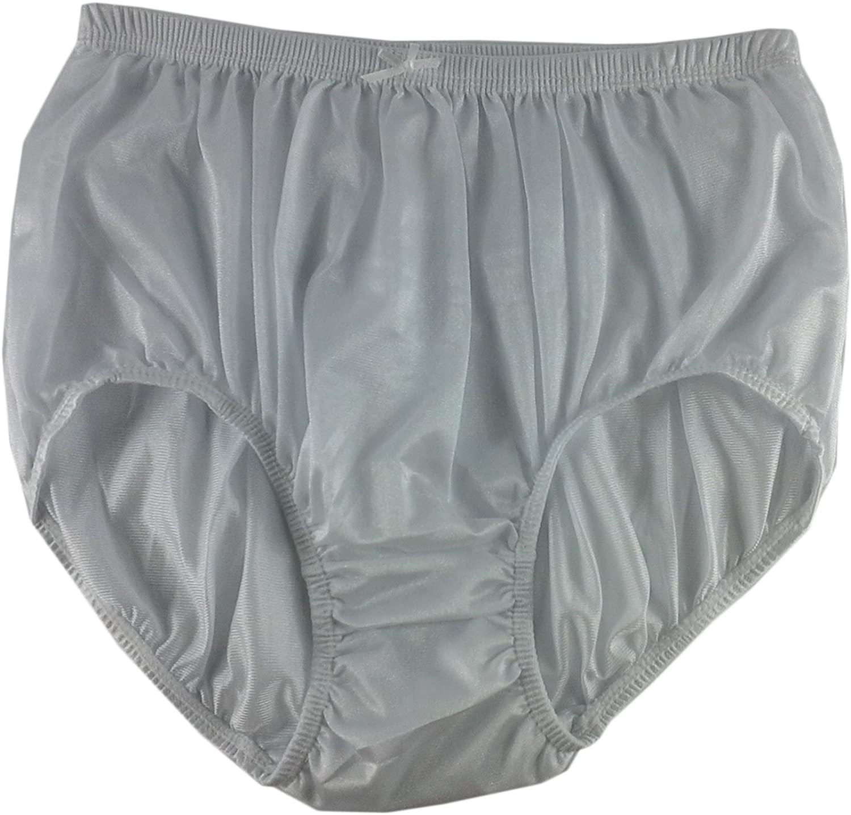 Granny White Plain Panties Briefs Sheer Nylon Underwear for Women & Men Plus Size