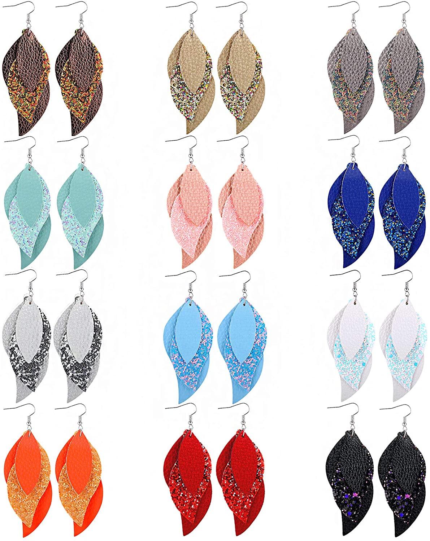 Leather Earrings for Women Lightweight Layered Leather Earrings Teardrop Gilter Leaf Dangle Earrings Faux Leather Earrings 12 Pairs