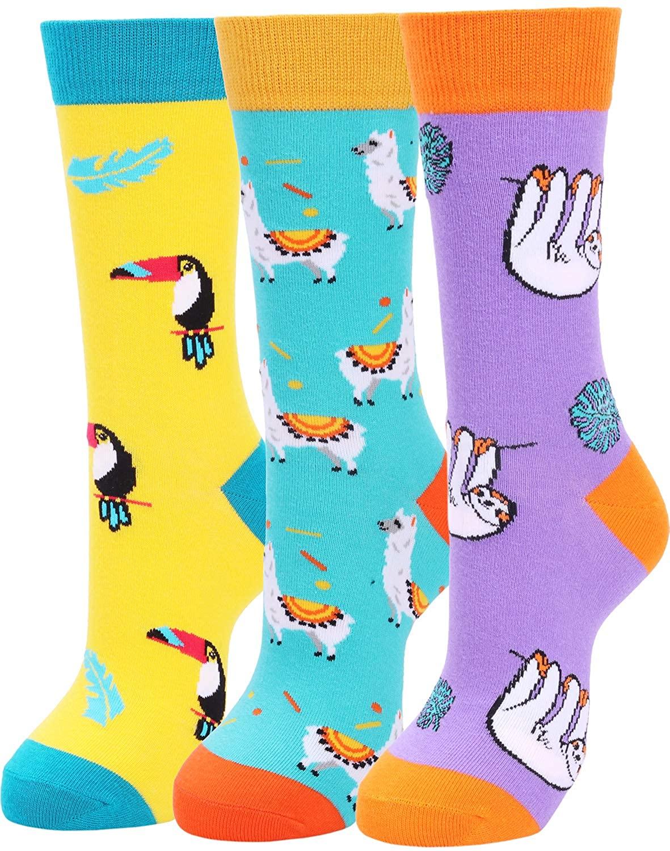 Womens Funny Novelty Cotton Crew Socks Colorful Cute Crazy Animal Socks
